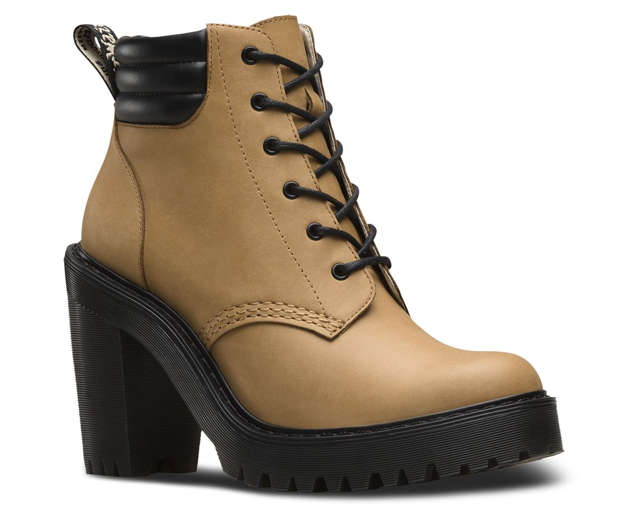Taking Dr. Martens rebellious style to new heights, the Persephone heeled ankle  boot features a DM's branded heel-loop, matte San Diego Leather upper and  ...
