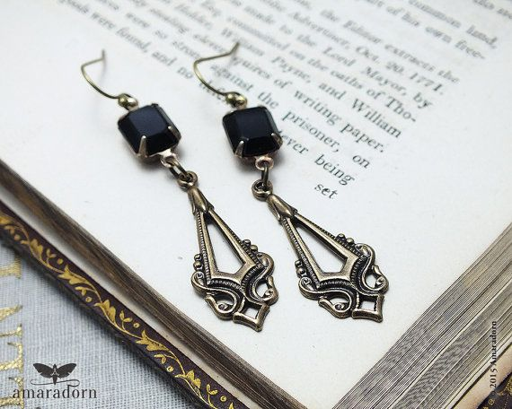 Ornate Victorian Earrings Antiqued Br And Black Rhinestone Swarovski Crystal Gothic