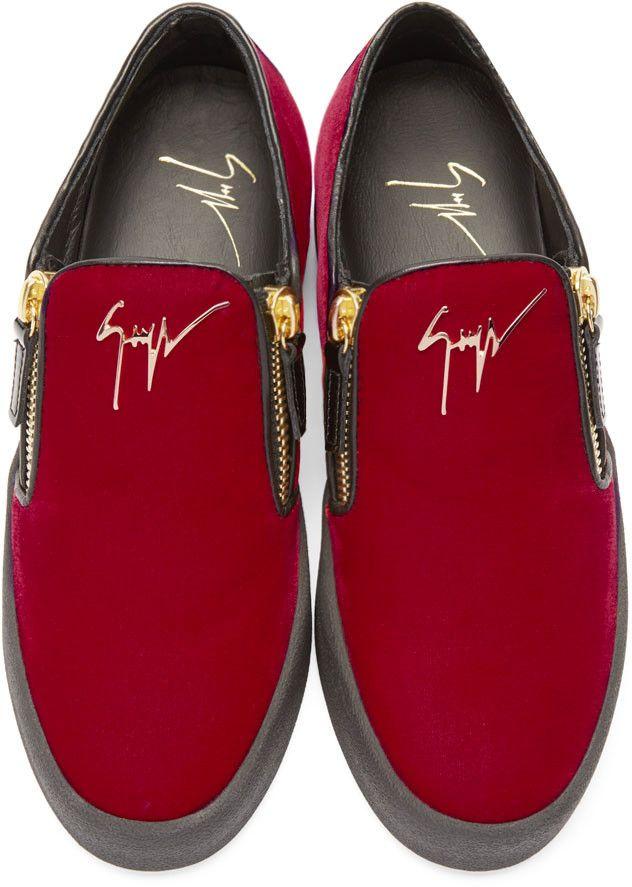 4acd65c6c6f9 Giuseppe Zanotti SSENSE Exclusive Red   Black Velour Slip-On London Sneakers