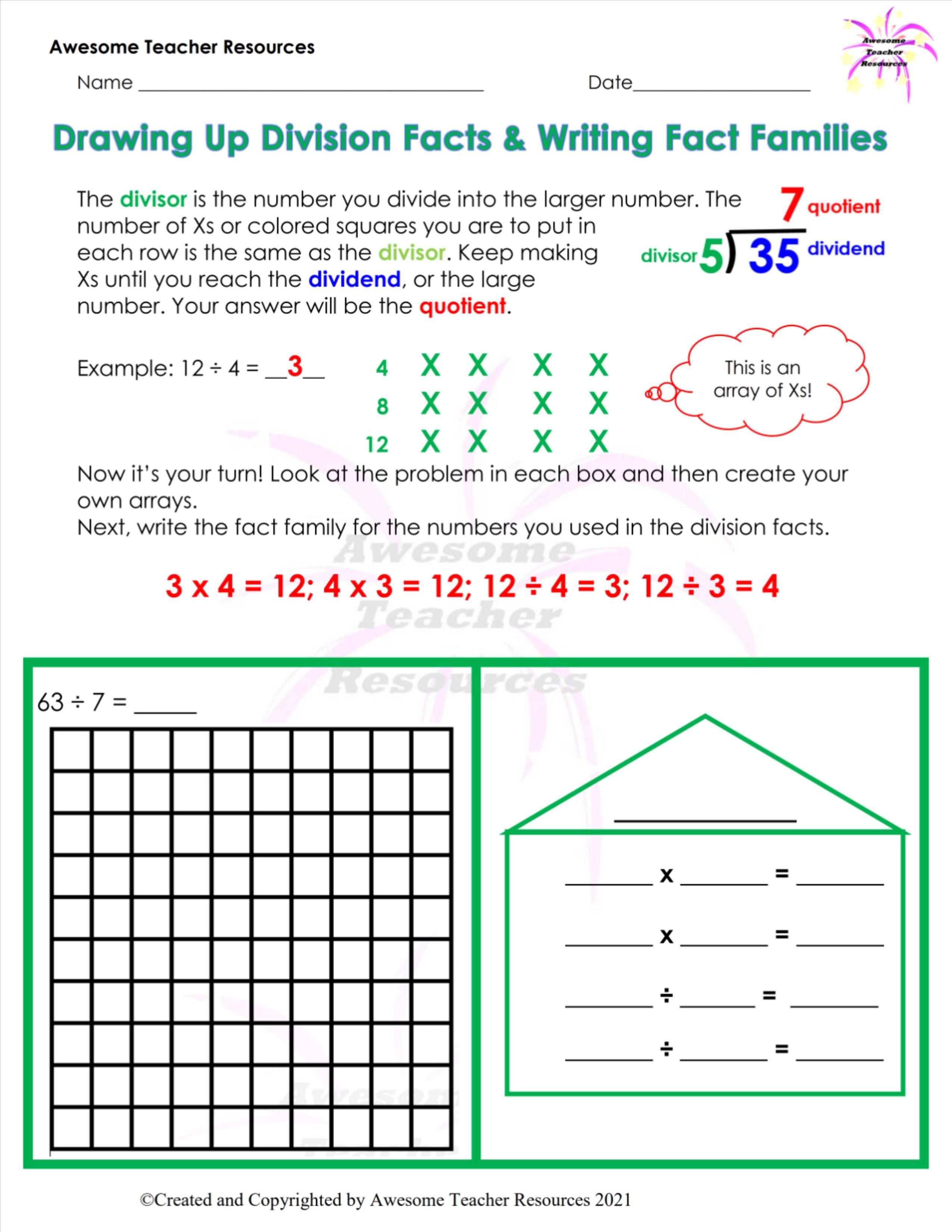 Drawing Up Division Facts Writing Fact Families Worksheet 1 In 2021 Division Facts Fact Families Fact Family Worksheet