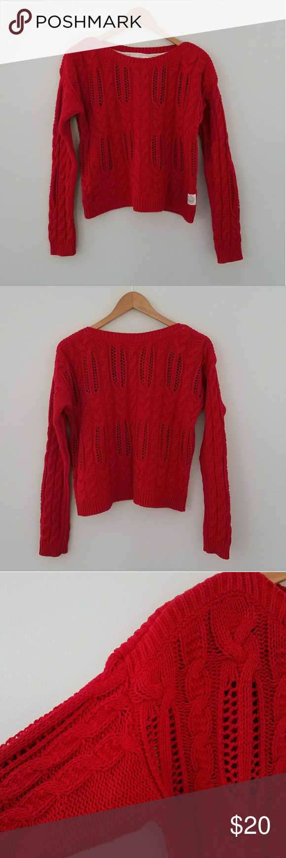 8385db959f0ec H M red oversized cable knit sweater size small