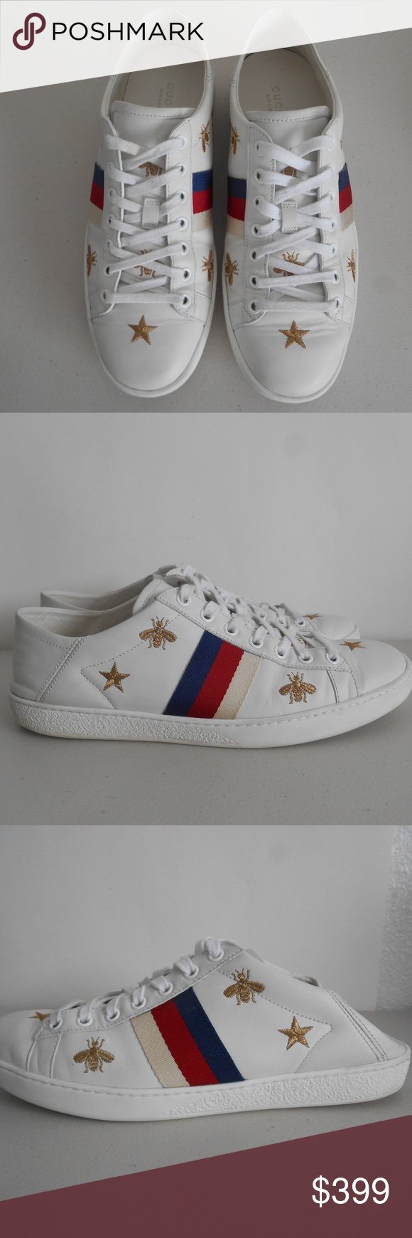 f3bc1d3394a GUCCI  Ace  Convertible Sneakers w  Bees and Stars Absolutely authentic.  Golden bee