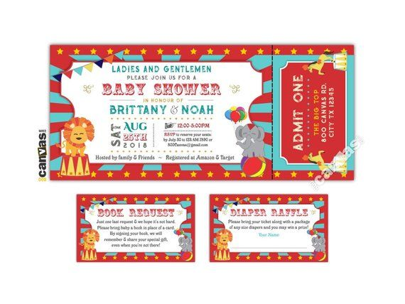 Circus Ticket Invitation Carnival Themed Party Baby Shower