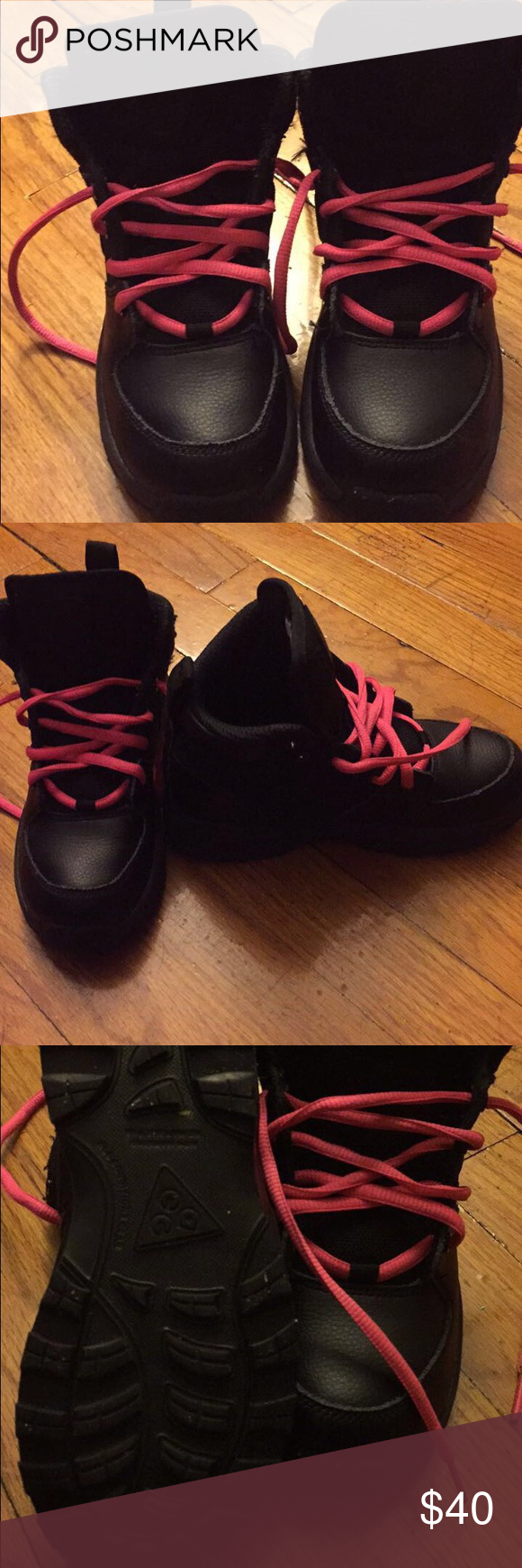 Nike ACG These are boy boots but I put pink shoe strings so my daughter could wear them 😊😊 She only wore these a handful of times. Great Condition. Nike Shoes Boots