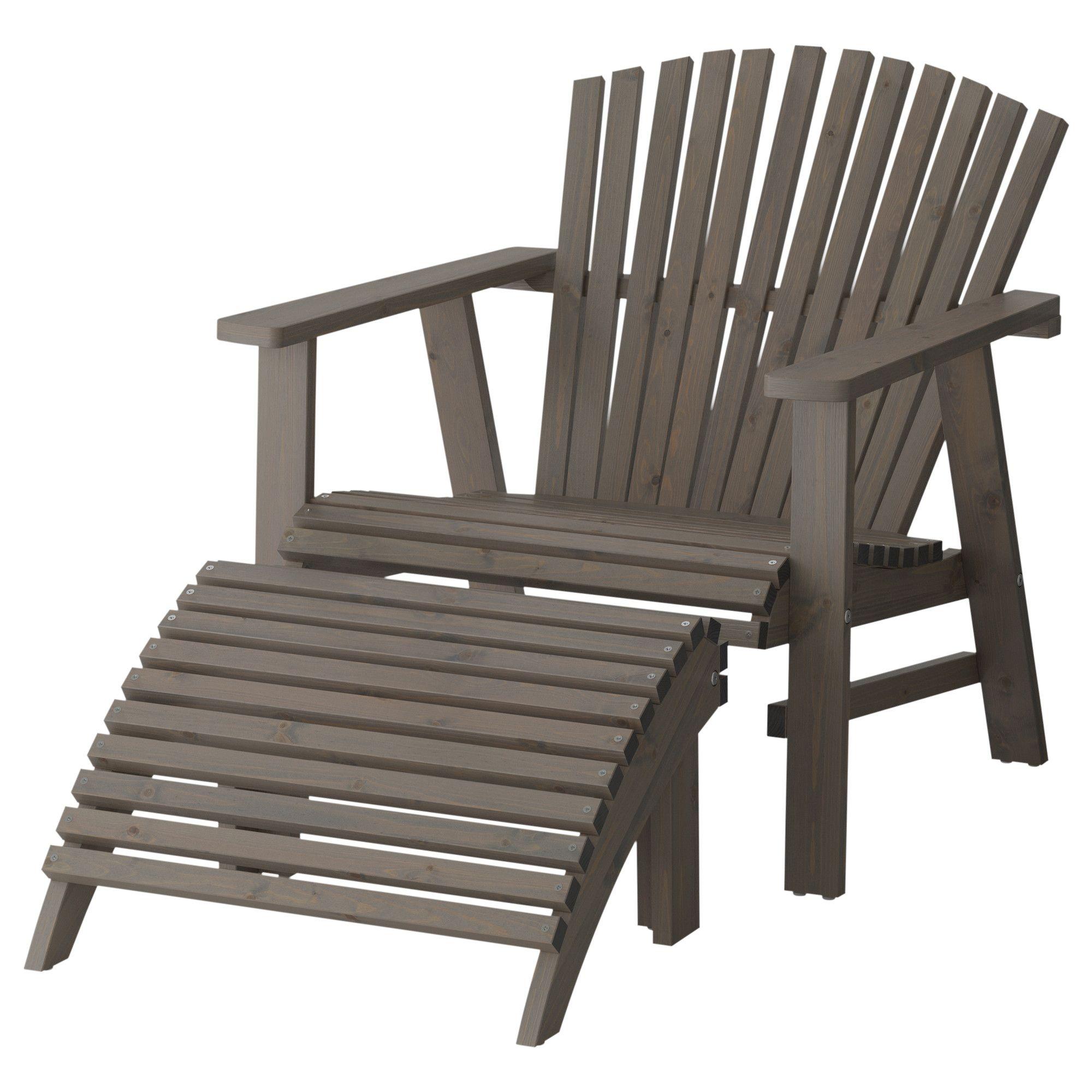 Ikea SunderÖ Deck Chair With Footstool Gray Pine Acrylic Glaze 169
