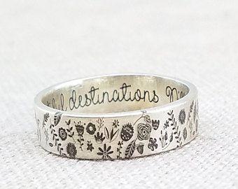 0bdd5258403f Grabado de personalizado anillo - anillo de plata - joyería - anillo -  anillo de flores