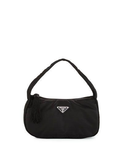 108cb3e94b12 PRADA Nylon Small Zip-Top Hobo Bag, Black (Nero). #prada #bags #shoulder  bags #lining #nylon #hobo