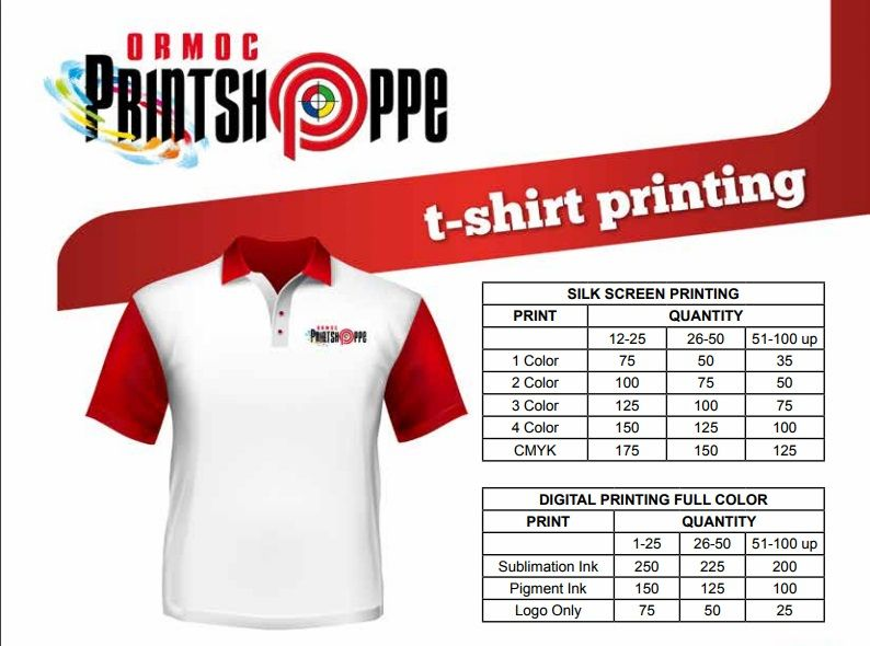 db281ff2b High quality t-shirt printing services. We accept silkscreen, digital,  sublimation prints and embroidery of various apparels like tshirts, caps  and several ...