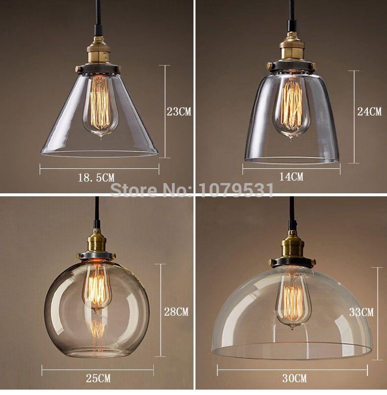 20 Types Vintage Pendant Light Copper Silver Glass Hanging Lamp E27 110 220v
