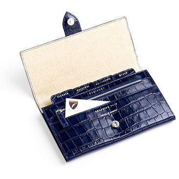Aspinal of London Travel Wallet in Navy Mock Croc Calf Leather