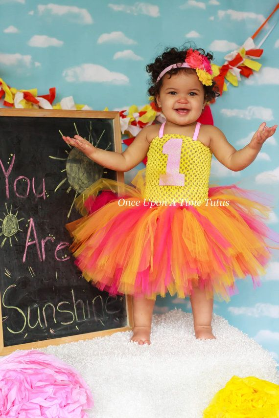 0567b3a63 Hot Pink Yellow Coral Birthday Headband - Choice of Number 1, 2, 3, 4, 5,  6, 7, 8, 9 Shabby Flower H