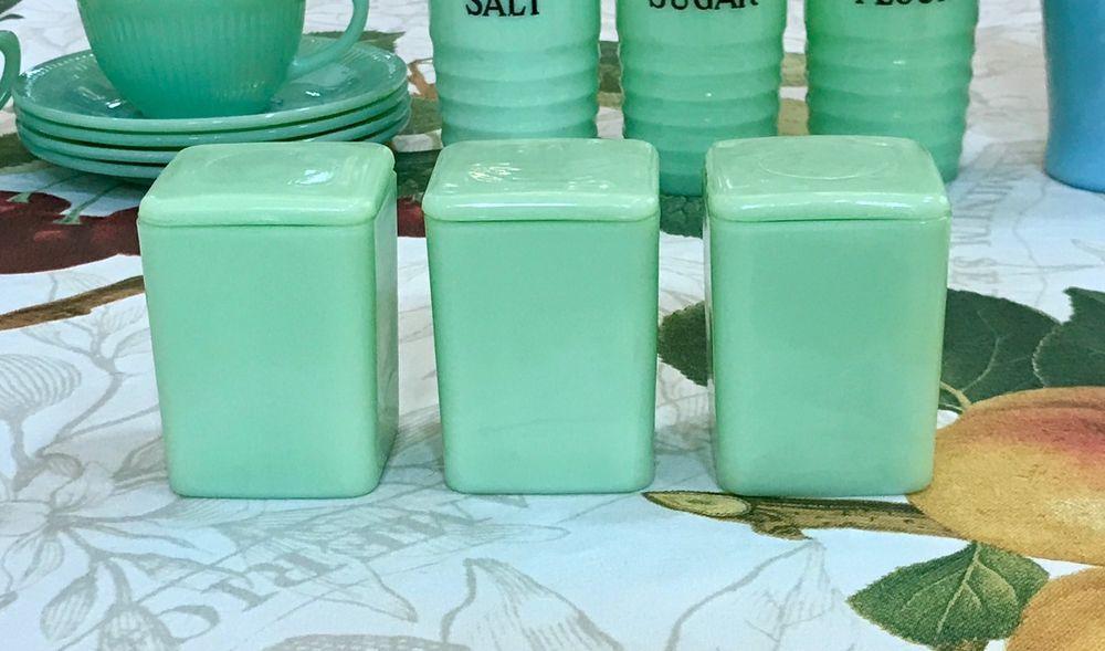 "3 Jeannette Jadeite Green Mini 3"" Plain Spice Canisters Jars ~ Jadite Green #Jeannette"