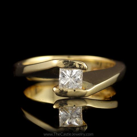 Unusual Princess Cut Diamond Engagement Ring with Flat Cathedral Mount – The Castle Jewelry