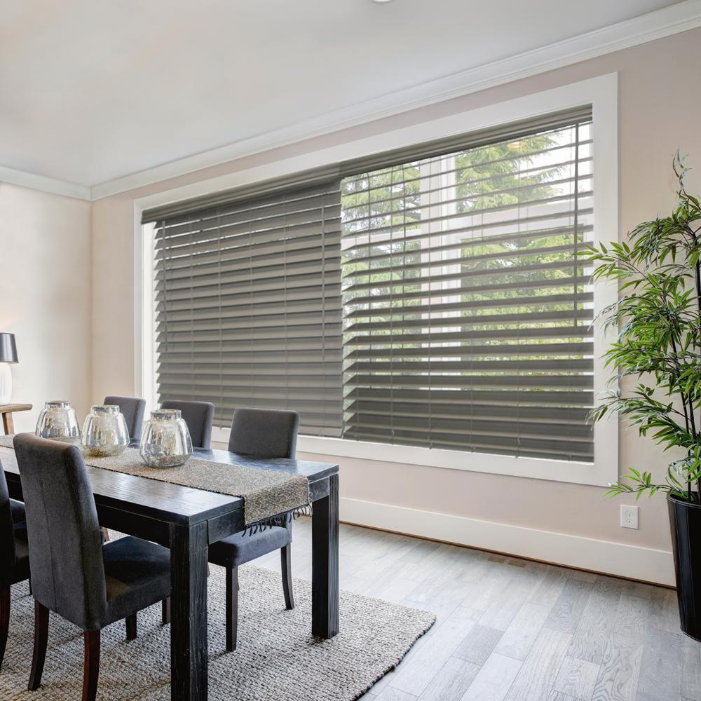 Home Decorators Collection Gray Cordless 2 1 2 In Premium Faux Wood Blind 61 5 In W X 72 In L Actual Size 61 In W X 72 In L 10793478385713 In 2020 Faux Wood Blinds Wood Blinds Decor