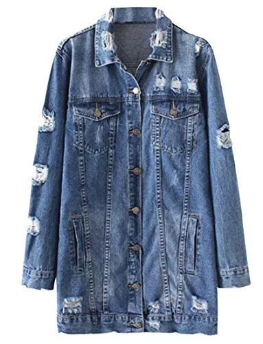 Fensajomon Womens Distressed Single breasted Ripped Slim Fit