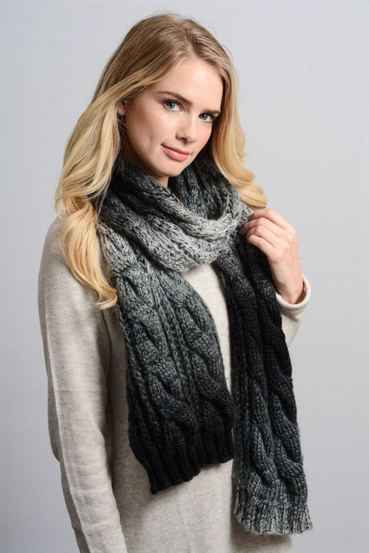 a9a468545 Ombre Cable Knit Scarf - Black | Pretty scarves | Cable knit, Hooded ...