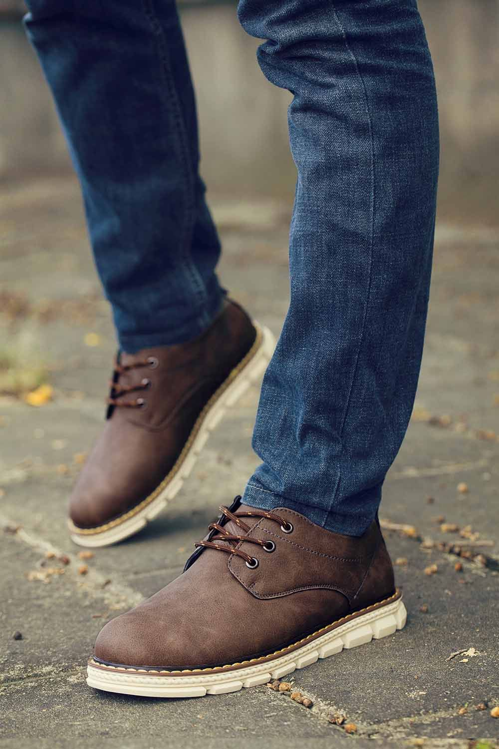 Men's dark #brown leather #LaceUp shoes