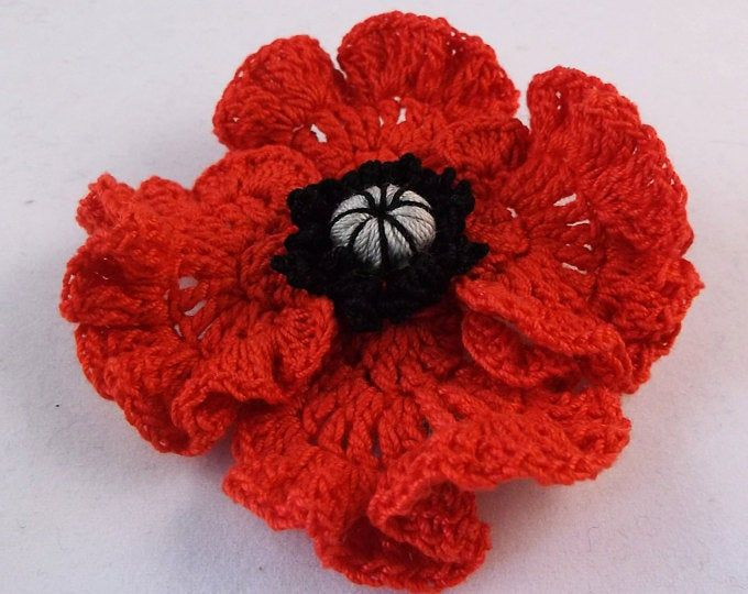 Remembrance Day Red Poppy Brooch Handmade Felt Fabric
