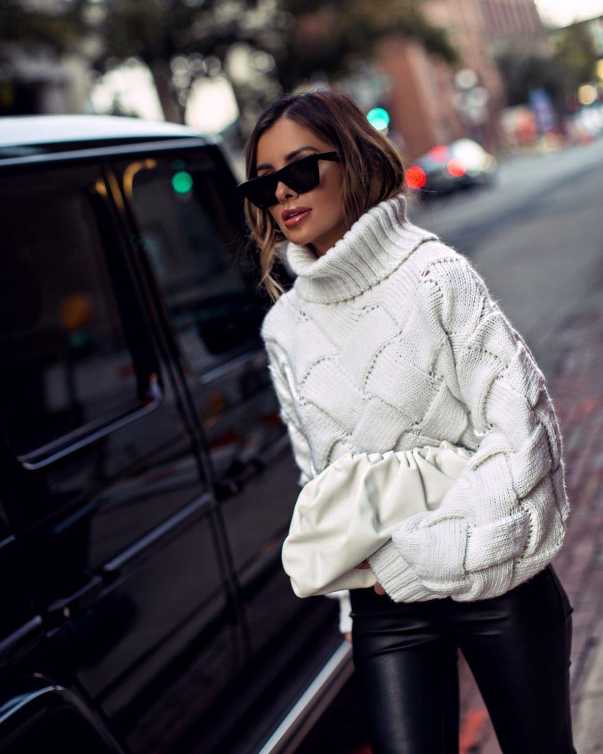 Chunky Sweater and Leather Leggings - Mia Mia Mine