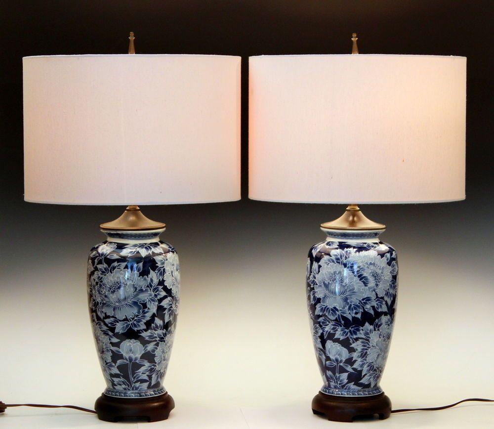 Pair vintage japanese porcelain blue white chinoiserie peony vase lamps peonychinoiserie japaneseporcelain