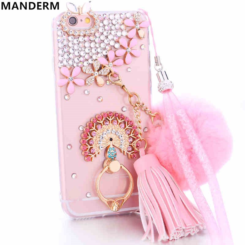 Diamond Case Cover For Iphone 6 6s Case Rhinestone Plush Ball Chain Tassel Stand Holder Cover For Iphone 6 Silicone Ca Chain Tassel Silicon Case Iphone 7 Cases