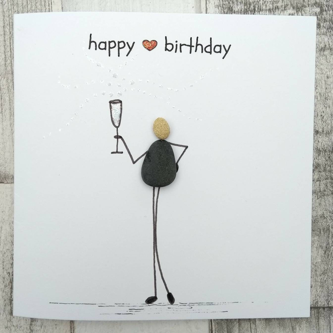 Birthday card pebble picture pebble art Stick man card prosecco lovers card Champagne lovers card unique card unusual card quirky card #bastelnmitsteinen