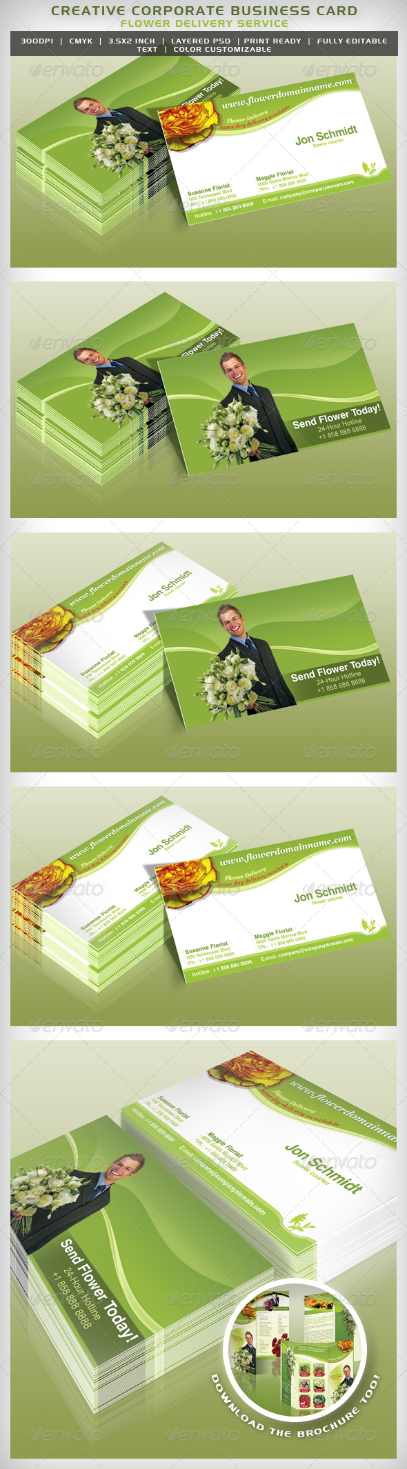 Flower Delivery Service - Business Card | Flower delivery service ...