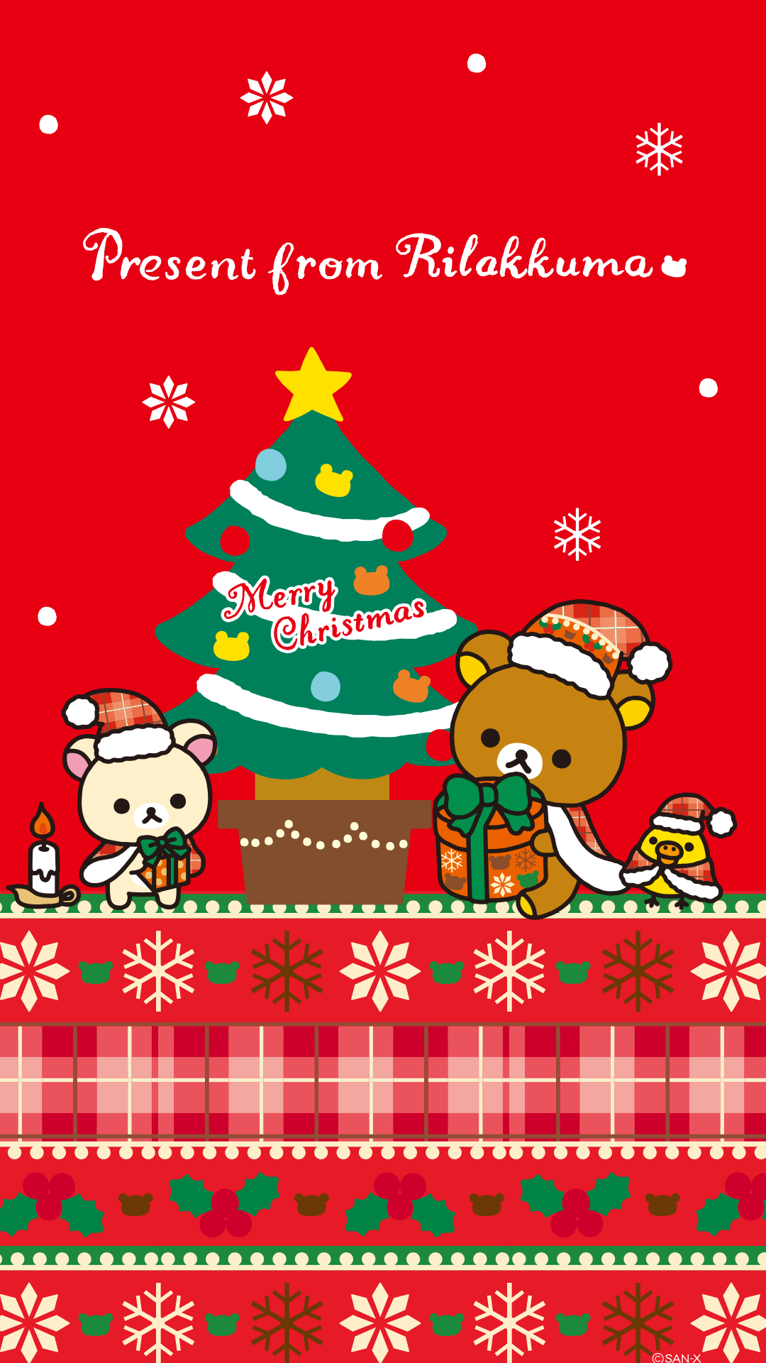Rilakkuma X Mas Wallpaper For Iphone Android クリスマス壁紙 壁紙 かわいい リラックマ イラスト