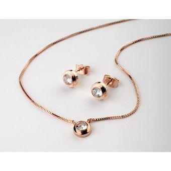 b92096aee8cb VLT Collection - Collar y Aretes Mujer Enchapados en Oro 18K - Oro Rosa Set  enchapado en Oro Rosa 18Kl Aretes y collar Largo de collar  41 cm  Aplicación de ...
