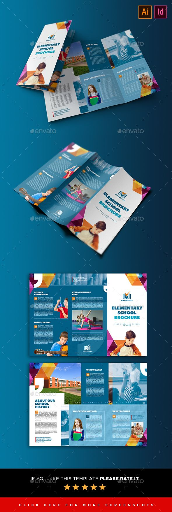Elementary School 3 Fold Flyer Template Indesign Indd Ai