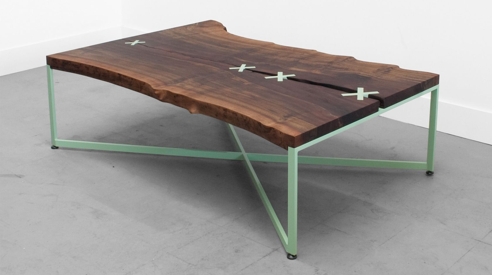 The Stitched Table is built around a one of a kind flitch cut