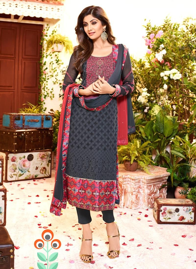 Largest selection of bollywood suits from popular indian online shops. Buy  this Shilpa Shetty embroidered and print work grey churidar designer suit.
