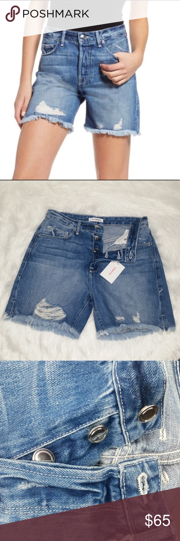 GOOD AMERICAN Cutoff High Waist Denim Shorts Beautiful pair from Good American. These are High waist distressed denim cutoff shorts from Good American. 4 Button fly, frayed hem, distressed, high Waist. The New Shorts with Side Slits. Size: 8/29 Inseam: 5 inches Rise: 12 inches 100% Cotton Brand New with tags. MSRP 129 + tax Good American Shorts Jean Shorts #denimcutoffshorts