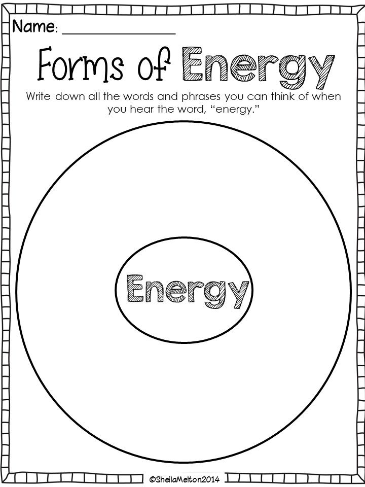 Forms of energy graphic organizer write down all the