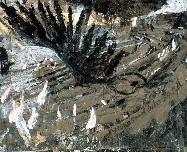 "Anselm Kiefer Ikarus - märkischer Sand [Icarus - Sand of the Brandenburg March] 1981 Oil, emulsion, shellac, sand and photograph on canvas 290 x 360 cm 114¼ x 141¾"""