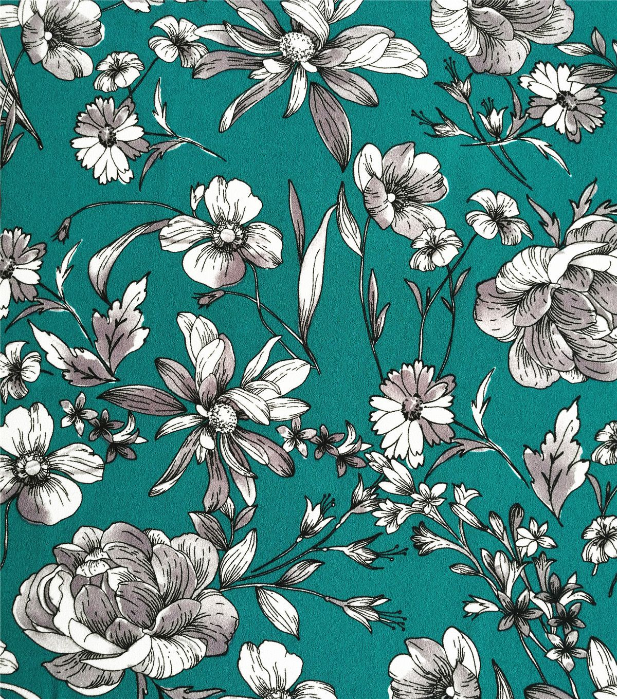 Stretch Crepe Knit Fabric White Shaded Floral on Teal