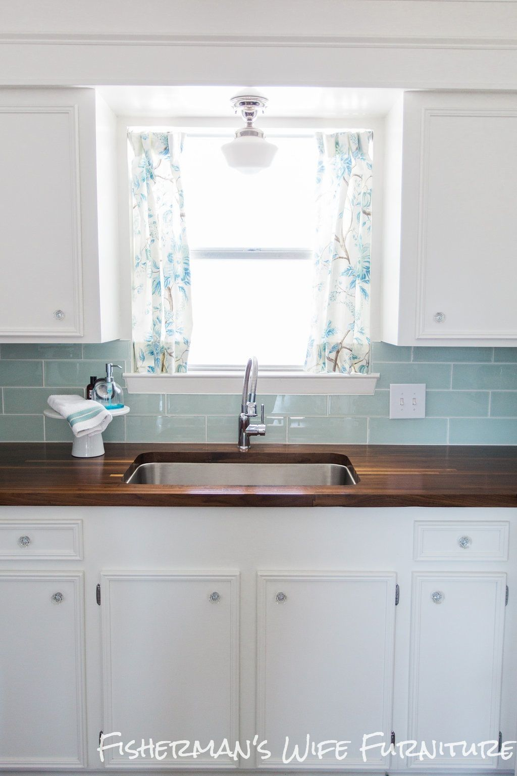 Dark butcher block glass tile backsplash fisherman   wife furniture diy kitchen reveal update also
