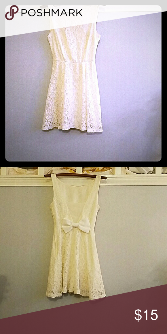 Lace dress White lace, with a bow on the back, mini B Darlin Dresses Mini