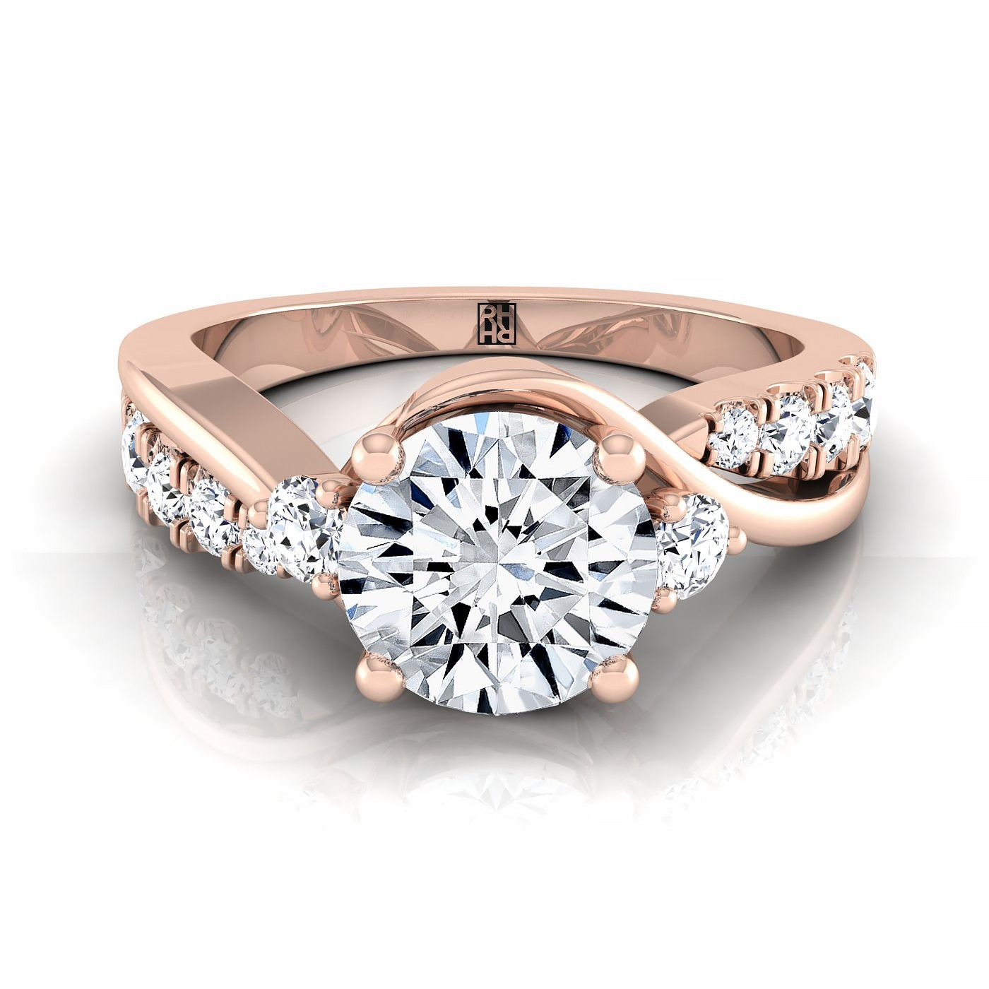2412af423 Diamond Engagement Ring With Twist Shank And Side Stone In 14k Rose Gold  (3/8 Ct.tw.)