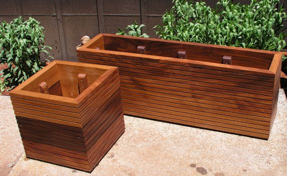 """Mid Century Modern Planter Ideas: NOW Available In 36"""" High, Tall Modern Mahogany Planter"""