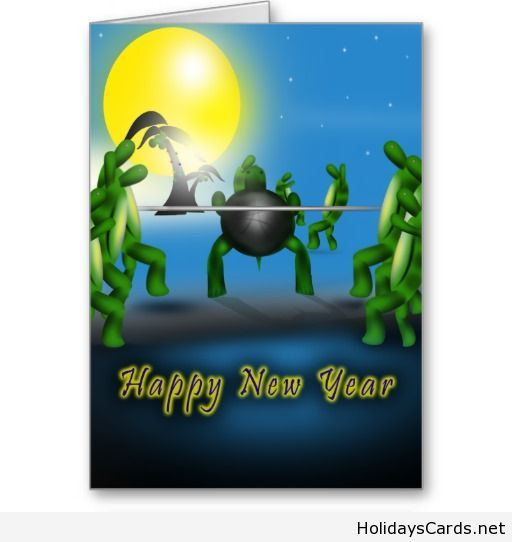 Happy new year turtles card
