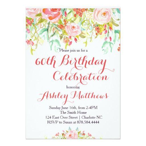 Beautiful floral adult birthday invitation adult birthday beautiful floral adult birthday invitation stopboris Images