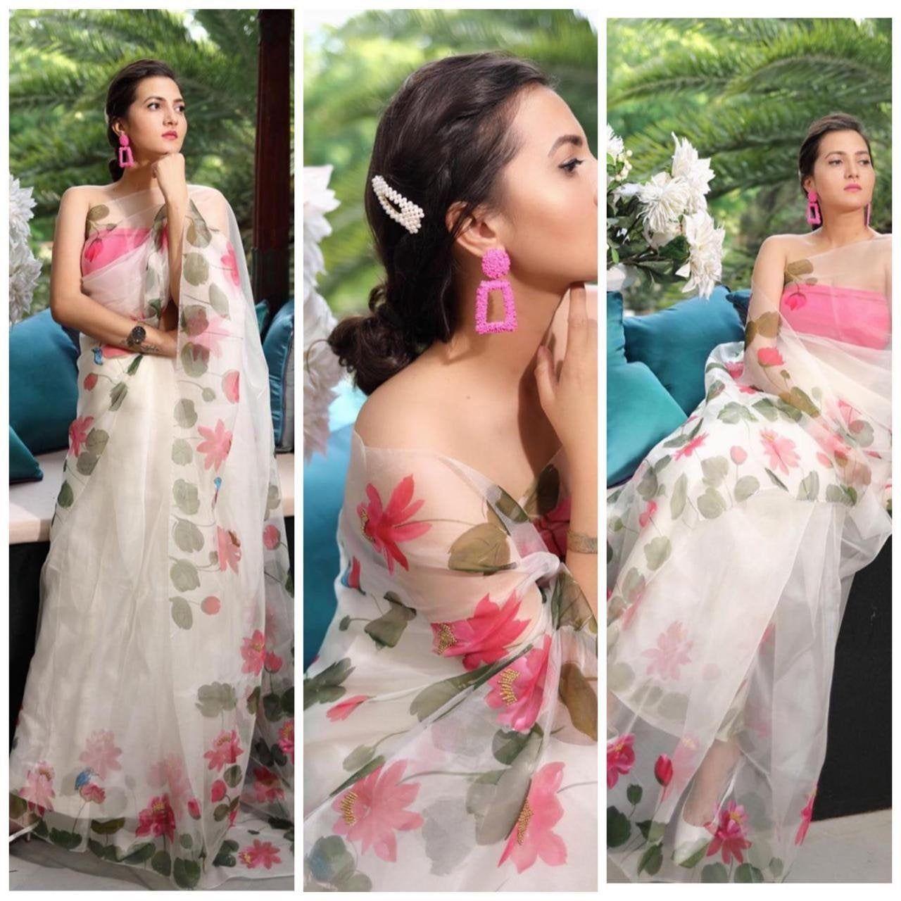 White Color Designer Saree Satin Silk saree with Exclusive blouse party wear saree Bollywood Style saree digital print sari