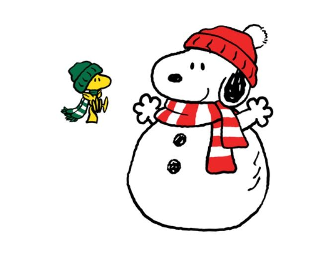 snowman snoopy with woodstock wearing winter hat and scarf flying nearby