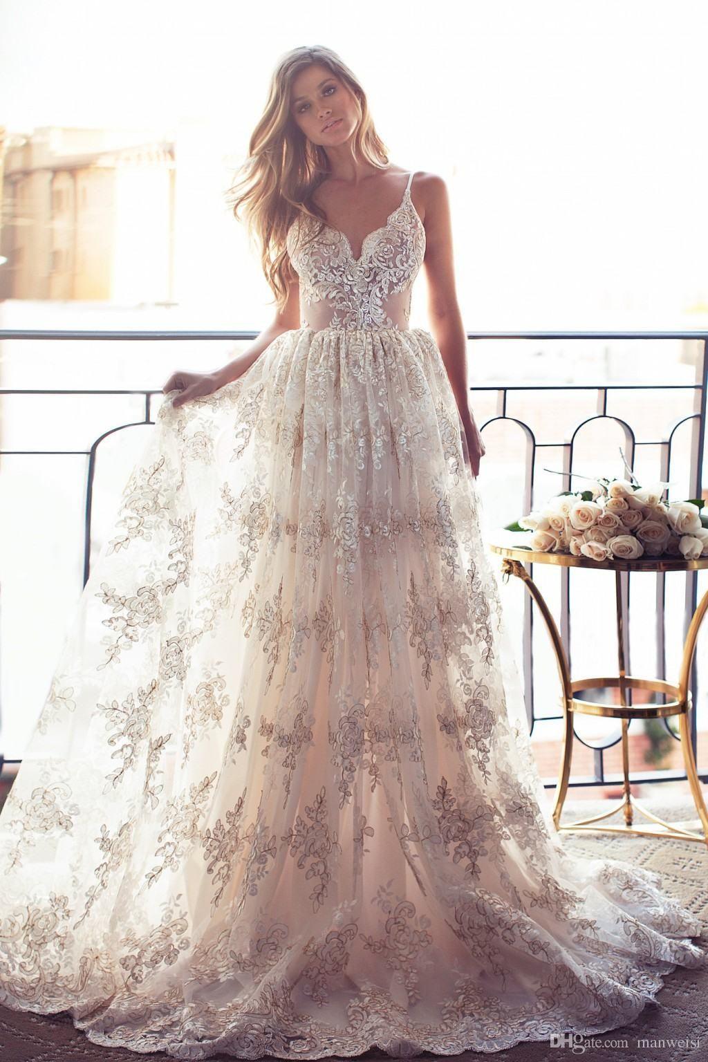 bohemia beach lurelly wedding dresses sexy spaghetti neck