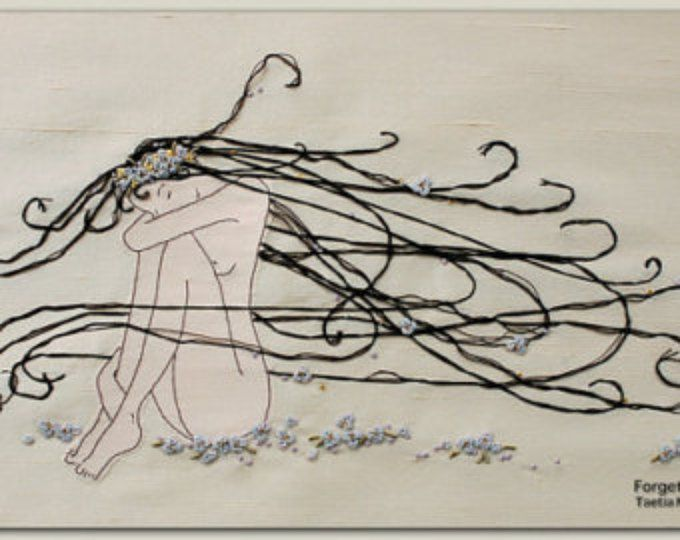 Modern Hand Embroidery Girl Hand Embroidered Wall Art Instructions