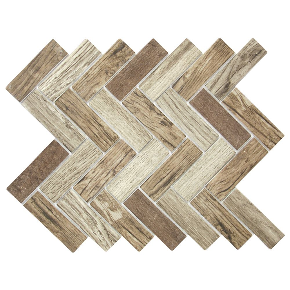 Spigacycle Wood Caoba Mix Herringbone Recycled Glass Tile | 建材 ...
