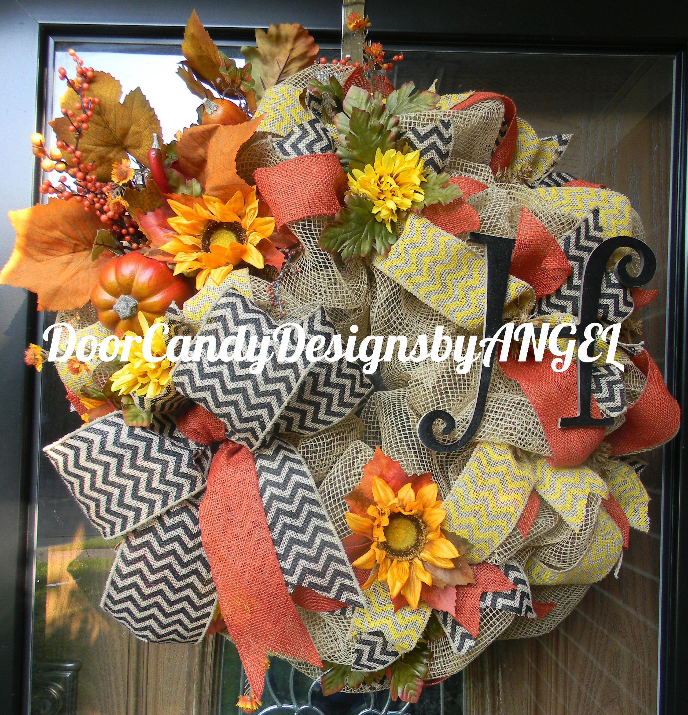 Custom order burlap, fall design with letter Door