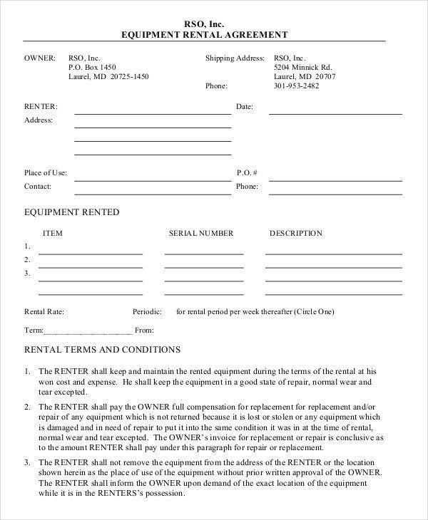 Equipment Rental Agreement Sample Free Equipment Rental Agreement Otherly Sampleresume Rental Agreement Templates Rental Agreements Equipment Rental Agreement