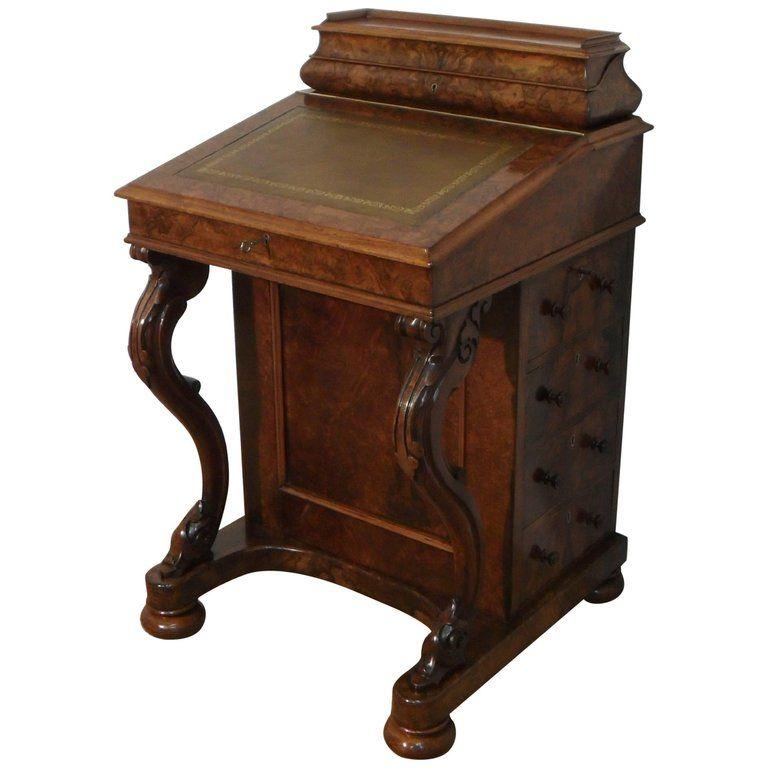 Victorian Burr Walnut Davenport Writing Desk 1stdibs Com Walnut Desks Vintage Desk Walnut Side Tables